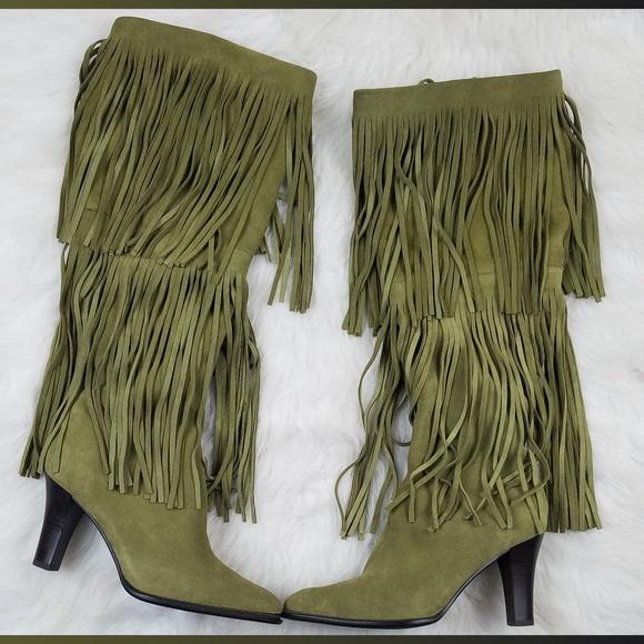4f2388f67319 Green Leather Fringe Knee High Boots Sz 8. M 5bbd4d2d4ab63345b607708d
